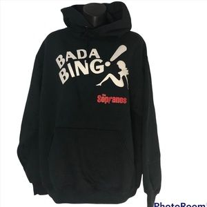 Vintage The SOPRANOS BADA BING! Black hoodie with drawstring and kangaroo pouch